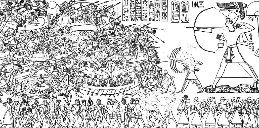 Raffigurazione-della-Battaglia-di-Ramses-III-contro-i-Popoli-del-Mare-sulle-pareti-del-tempio-di-Medinet-Habu-1-1030x510