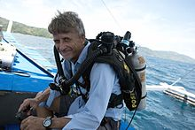 Richard_L._Pyle_On_Boat_in_Philippines,_with_Poseidon_SE7EN_Rebreather