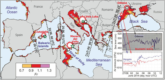 Widespread tsunami-like waves of 23-27 June 2014 in the Mediterranean and Black Seas generated by high-altitude atmospheric forcing by Jadranka Šepić, Ivica Vilibić, Alexander B. Rabinovich & Sebastian Monserrat