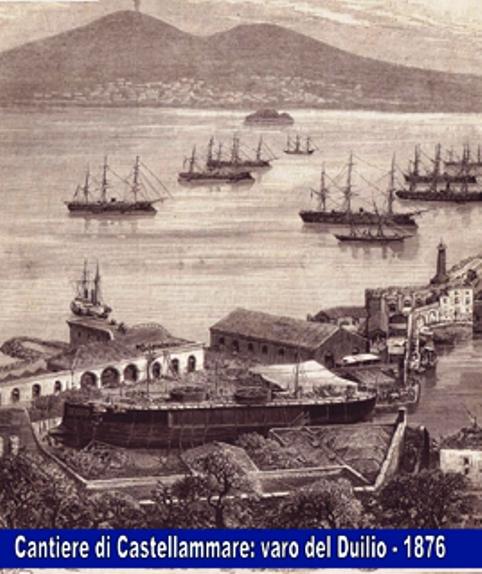 Cantiere-di-Castellammae-di-Stabia-1876-stampa-per-il-varo-della-regia-nave-Caio-Duilio-www.lavocedelmarinaio.com_