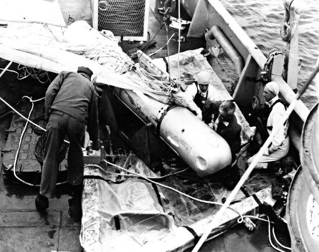 Lost Palomares H bomb recovered from Mediterranean seabed, April 7, 1966. US Navy photo