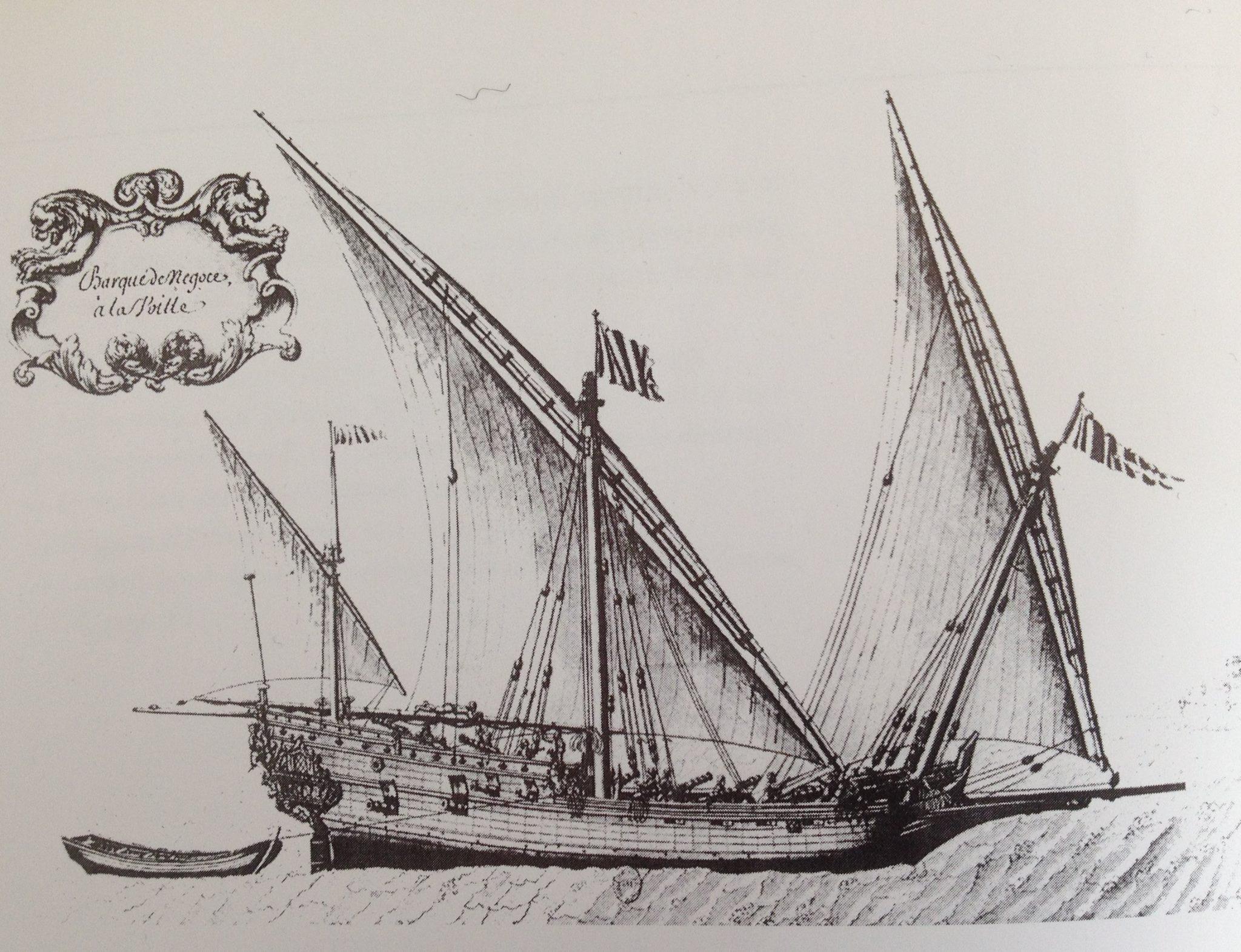 una barca, bastimento mercantile a tre alberi armati con vele latine o quadre, tipico delle marinerie liguri. Barche, pinchi, sciabecchi e galeotte furono tra i bastimenti più presenti tra quelli armati in corso dalla Compagnia