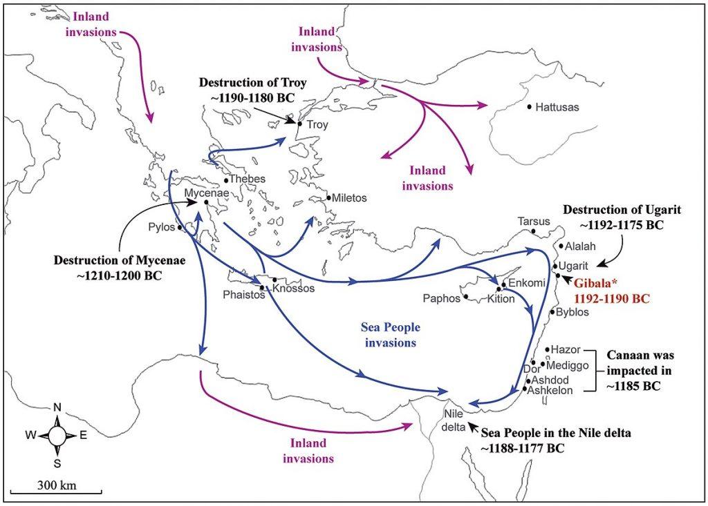 Questa immagine ha l'attributo alt vuoto; il nome del file è 1200px-Map_of_the_Sea_People_invasions_in_the_Aegean_Sea_and_Eastern_Mediterranean_at_the_end_of_the_Late_Bronze_Age-1024x733.jpg