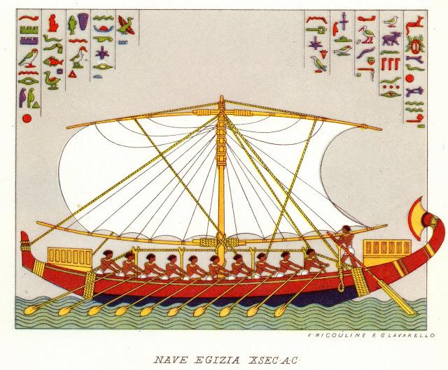 La navigazione fluviale degli antichi Egizi: altorilievi e modellini antichi di imbarcazioni ci raccontano l'arte marinaresca sul Nilo