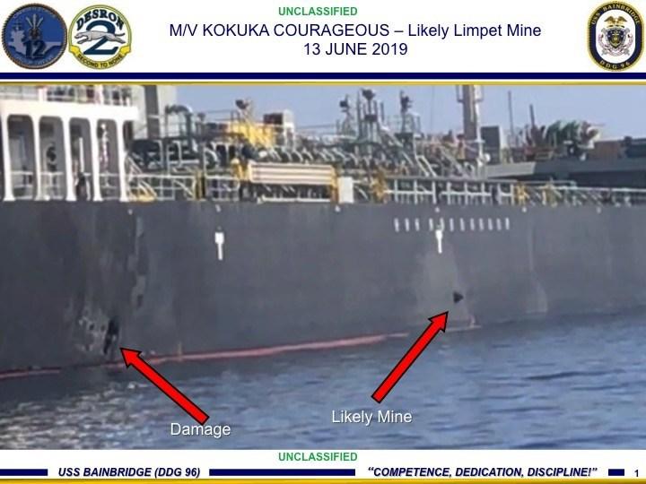 Aggiornamento: rilasciato da US CENTOM un filmato che proverebbe la presenza di limpet mine sullo scafo delle navi colpite a Hormuz