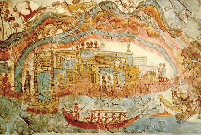 Questa immagine ha l'attributo alt vuoto; il nome del file è Minoan_fresco_showing_a_fleet_and_settlement_Akrotiri.jpg