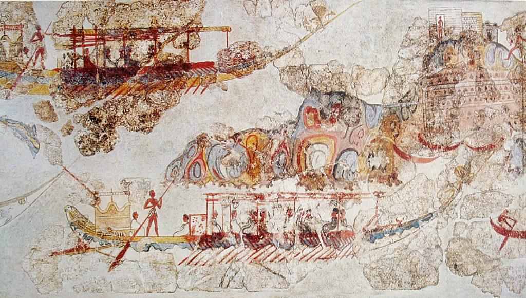 Questa immagine ha l'attributo alt vuoto; il nome del file è Ship_procession_fresco_part_4_Akrotiri_Greece-1024x580.jpg
