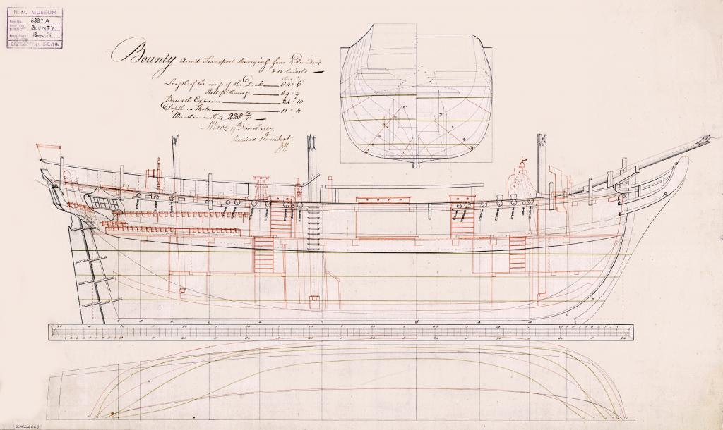 Questa immagine ha l'attributo alt vuoto; il nome del file è Admiralty_Sheer_Draught_Ship_Plans_-_HMS_Bounty-1024x610.png