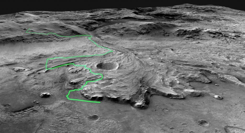 Questa immagine ha l'attributo alt vuoto; il nome del file è Perseverance-Rover-Route-Across-Jezero-Crater-1024x556.jpg