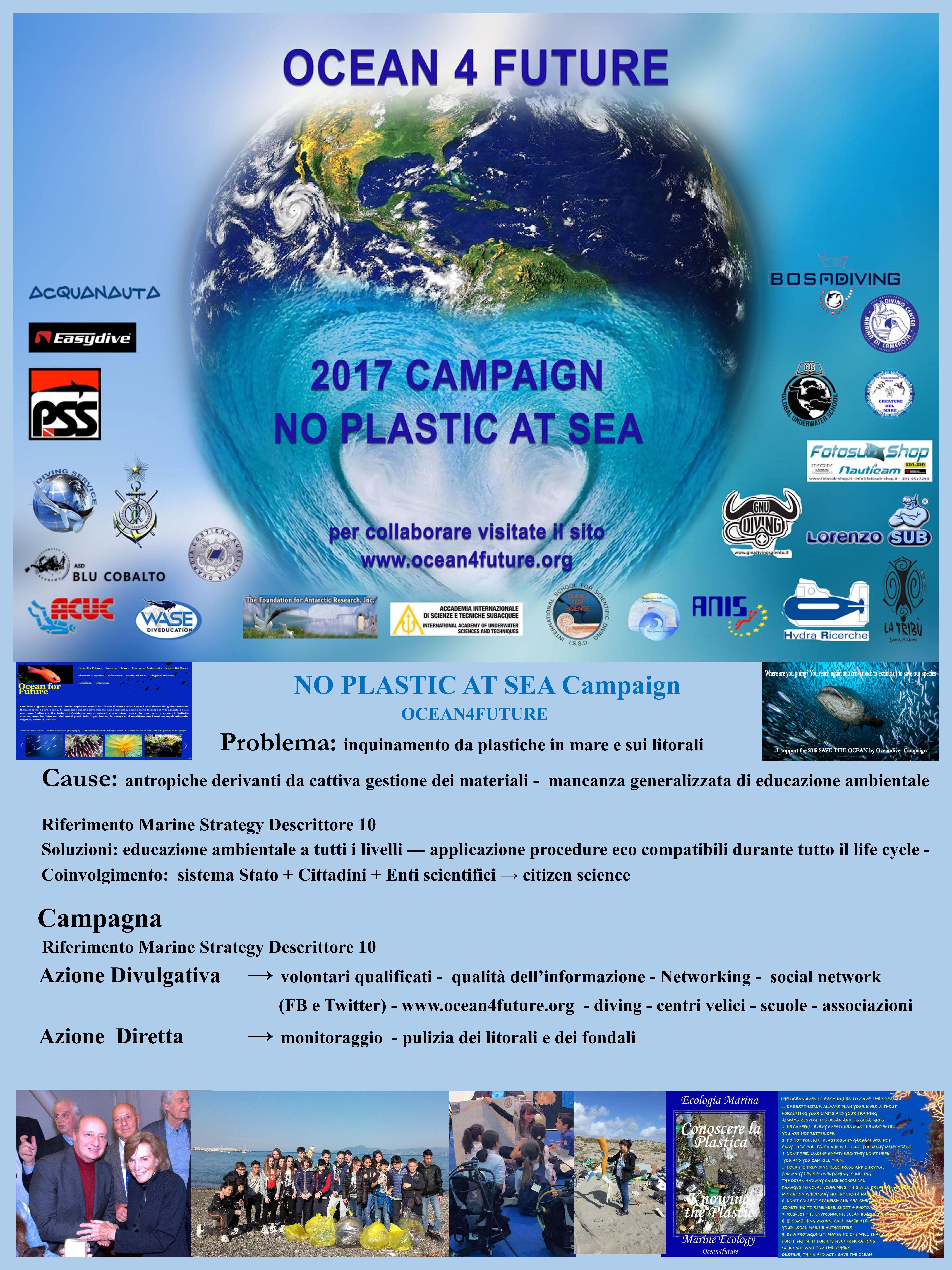 Educare per assicurare un futuro alle nuove generazioni - campagna NO PLASTIC AT SEA di OCEAN4FUTURE per la lotta alle plastiche in mare